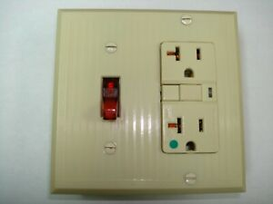 Vintage Uniline Ivory Decora GFCI Switch Outlet Wall Cover Plate 2 Gang Miler