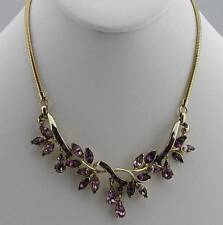 1940's Purple Amethyst & Lavender Rhinestone Articulated Necklace by Coro