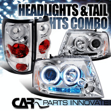 04-08 Ford F150 Chrome Twin Halo Projector LED Headlights+Clear Rear Tail Lamps