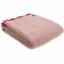 TWEEDMILL 100% Wool Sofa Throw Blanket HERRINGBONE SILVER GREY WATERMELON RED
