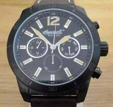 Mens Black Steel Ingersoll Lincoln INQ014BKBK Military Big Face Leather Watch