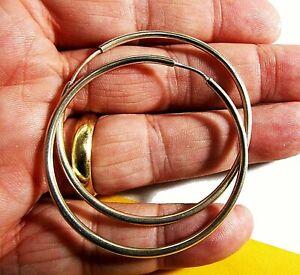 Pendientes de Aro grandes (4,5cm diametro) en Plata de Ley 925 para Mujer