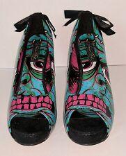 Iron Fist Women 11 Frakattack Frankenstein High Heel Shoes Pin Up Goth Halloween