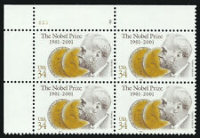 Scott 3504, The 2001 Nobel Prize Centenary Stamp Plate Number Block - MNH