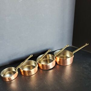 Set of 4 B & M DOURO Copper Measuring Cups - Brass Handles - Made in Korea