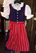 Kinderdirndl, Dirndl, inkl Bluse, blau, rot, Gr 128, Mädchen, Baumwolle, Tracht