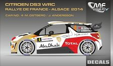 DECALS 1/43 CITROËN DS3 WRC - #4 - OSTBERG - RALLYE FRANCE ALSACE 2014 - D43353