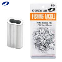 OCEAN CAT 50-500 Pcs Double Aluminium Tube Barrel Crimp Fishing Split Rings Snap
