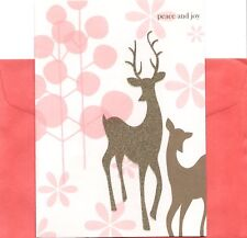 Gold and Pink Buck and Doe Deer Couple Pair Christmas Cards - Set of 7