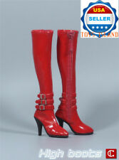 "1/6 High Heel Boots RED For 12"" PHICEN Hot Toys TBLeague Female Figure ❶USA❶"
