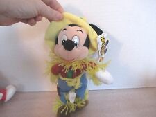 """MOUSKETOYS~8"""" SCARECROW MICKEY MOUSE BEAN BAG Plush Doll with Hang Tag"""