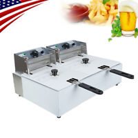 Electric Countertop Deep Fryer Dual Tank Commercial Restaurant 11L 5000W US SHIP