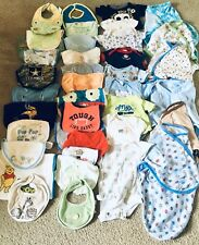 Baby Items lot 24 Bibs, 6 Swaddle blankets , 9 body suits
