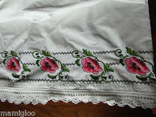 toile brode MAIN coquelicot point croix crochet@