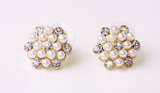 Impresionante en forma de Flor Blanca pearls-like beads/rhinestone Aretes (cl22)