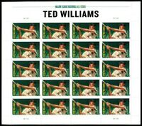 Ted Williams Red Sox Baseball Player Sheet of 20 Forever Stamps Scott 4694