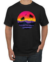 Tropical Paradise Beach Sunset Streetwear Mens Graphic T-Shirt