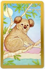 SWAP CARD. KOALA IN GUM TREE ILLUSTRATION. CONGRESS FRASER COLLECTION c1985.