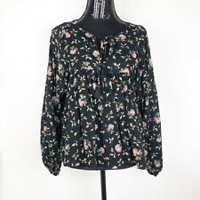 Denim & Supply Ralph Lauren Women's Shirt Size XS Floral Pink Black