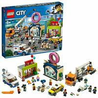 LEGO 60233 City Town Donut Shop Opening Toy Cars Set with Police Motorbike,
