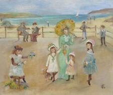 Vintage French Painting, Naïve Folk Art, Belle Epoque Seaside Beach Children Dog