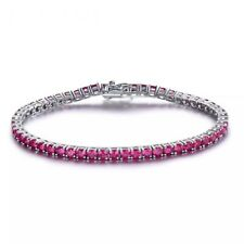 Sterling Silver .925 & White Gold Plated Ruby Tennis Bracelet 6.5 MM, 19 CM