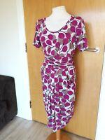 Ladies M&S PORTFOLIO Dress Size 10 Pink White Stretch Ruched Party Evening