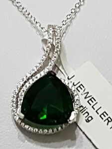 925 STERLING SILVER RHODIUM PLATED SAPPHIRE EMERALD PENDANT NECKLACE
