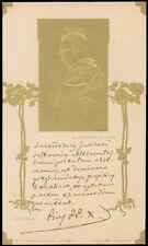 antico santino cromo-holy card S.PIO X PAPA soratura a rilievo