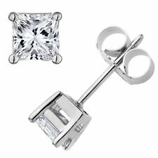 4x4MM Square cut 925 Sterling Silver CZ Earring/strong setting & Rhodium plated