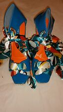New Hot Gossip Wedges Sandals Blue&Orange Shoes Ribbon Tie Up Open Toe 8 1/2