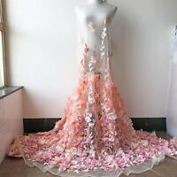 Peach 3D Flower Embroidery Lace Fabric Trimming DIY Bridal Wedding Dress 1 Yard