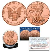 2019 Genuine 1 OZ .999 Fine Silver American Eagle US Coin - FULL 24KT ROSE GOLD