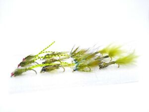 12 Mini Damsel Nymphs Set Fly Fishing Still Water Rainbow Trout Flies Selection