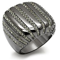 Ten Row Crystal Stones TIN Cobalt Black Gold Plated Le Glace Ladies Ring