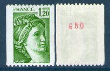 TIMBRE N° 2103a NEUF XX  LUXE - SABINE DE GANDON - ROULETTE N° ROUGE AU DOS