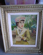 BIG Original Vintage Oil Painting French Woman SIGNED