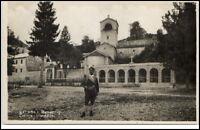 Cetinje Jugoslawien Montenegro Postkarte ~1930/40 Manastir Partie an der Kirche