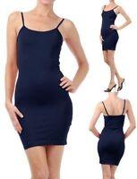 Sexy Stretch Bodycon Dark Blue Spaghetti Straps Mini Dress/Top One Size 12-14