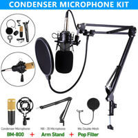 BM-800 Studio Broadcasting Condenser Microphone+Shock Mount+Arm Stand+Pop Filter