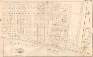 1883 BLACK PEARL NEW ORLEANS LOUISIANA MISSISSIPPI RIVER-WALNUT STREET ATLAS MAP