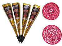 4 Black Color Henna Cones + 2 Stencils Temporary Tattoo Kit Mehandi Body Art Ink