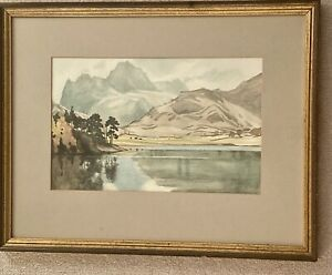 Vintage Watercolour Landscape Painting :  Lake Garda & Mountains, Italy  Framed