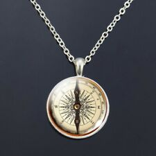 Classic Vintage Style Compass Necklace - Hiking, Travel, Camping Gift - Silver