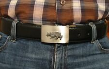 Border Collie Pewter Motif On Alloy Belt Buckle Black Leather Belt Xmas Gift