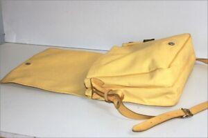 Paquetage Large Satchel Vinyl Yellow Trim Leather Shoulder Strap, Vgc ,
