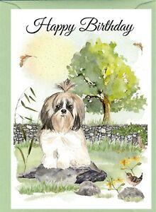 "Shih Tzu Dog (4""x 6"") Birthday Card with blank inside - by Starprint"