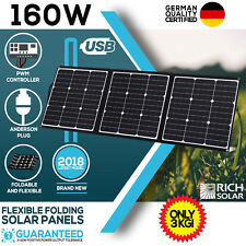 160w Flexible Folding Solar Panel Kit Mono Caravan Boat Camping Power Battery