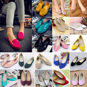 Women Ballerina Round Toe Dolly Ballet Pumps Slip On Flat Loafer Moccasins Shoes