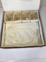 Vintage Federal Glass Co. Hospitality Snack Set 4 plates 4 cups With Box Vg++